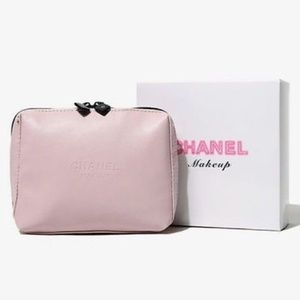 NEW CHANEL Pink Leather VIP Makeup Bag Gift Box